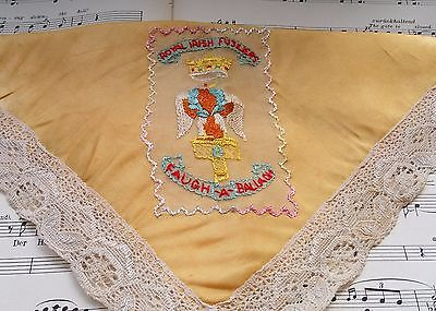 WW1 Silk Embroidered hankie The Royal Irish Fusiliers with  powder puff pocket