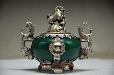 Chinese Old TIBET SILVER copper HAND CARVED LIONS DRAGON INCENSE BURNER