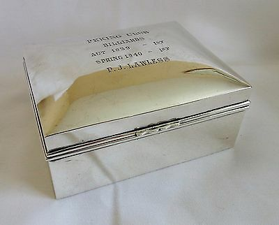 The Peking Club Silver Presentation Cigarette Box World War Two Interest 1939