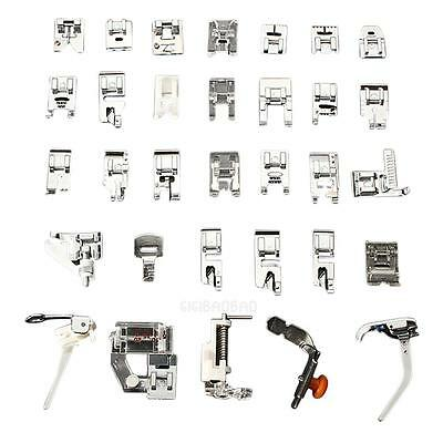 32 PCS Domestic Sewing Machine Foot Feet Snap On For Brother Singer Set #gib
