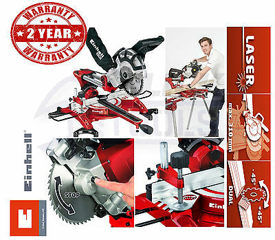 "EINHELL 210mm 8"" Sliding Cross Cut Mitre Saw With Double Twin Bevel TH-SM2131"
