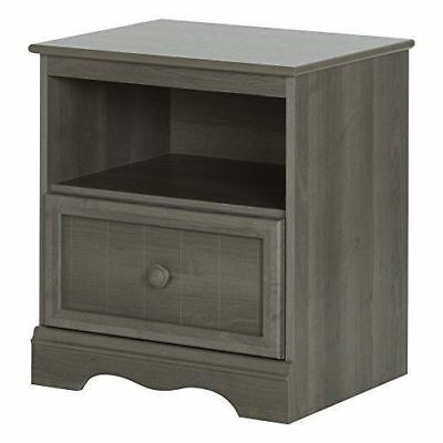 South Shore Furniture Savannah 1-Drawer Nightstand, Gray Maple