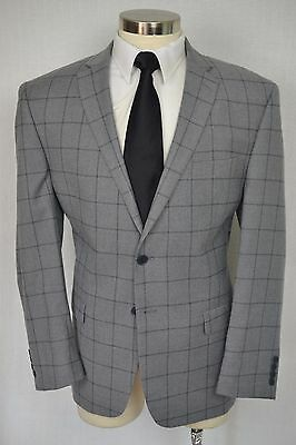 (46R) Michael Strahan Men's Gray Classic Check Blazer Sport Coat Jacket