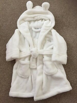 Immaculate White Soft Baby Dressing Gown Worn Once 6-12 Months