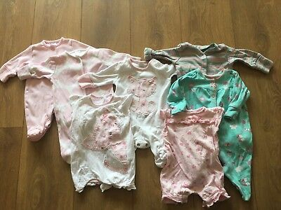 NEXT Girls Newborn (First Size) Sleepsuits Baby grow Romper Clothes BUNDLE
