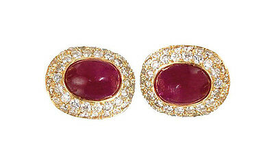 14 K White Gold Men's Cufflinks With Natural Oval Ruby And Real Diamond