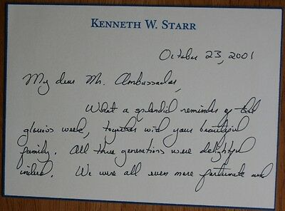 Bill Clinton Investigator Kenneth W. Starr Autographed Letter