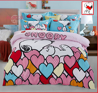 Snoopy Cartoon Duvet Cover 100%Cotton Bedding Set High Quality Queen King 4pcs