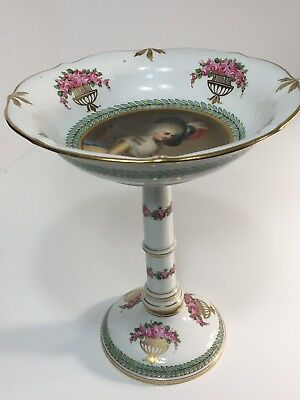 Antique German Dresden Signed Handpainted Portrait Compote.extremely Rare