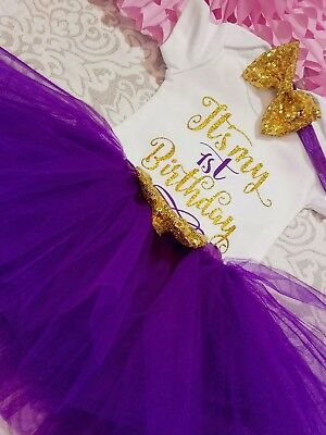 Baby girl first 1st Birthday Outfit Tutu Skirt Dress Cake Smash Headband party