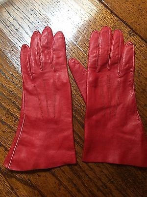 soft kid leather ladies gloves size 6 Red