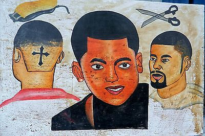 Reduced!  CONTEMPORARY PAINTED MEN'S BARBER'S SHOP SIGNBOARD GHANA/Cross/3x2 Ft.