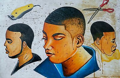 CONTEMPORARY PAINTED MEN'S BARBER'S SHOP SIGNBOARD GHANA/ Blue Shirt / 3x2 Ft.