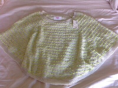 Brand New Justice Neon Green Poncho Sweater, Size 16/18, NWT