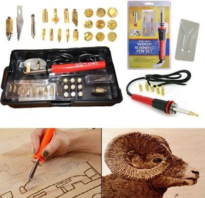 New Pyrography Wood Burning 30W-240V Iron Set Kit 5/21 Tips Wood Working Tool