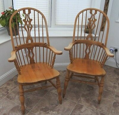 Wooden Chairs carver style (pair)