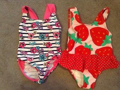 Baby Girls Swimming Costumes X2 Age 12 Months Strawberries Flowers Bows