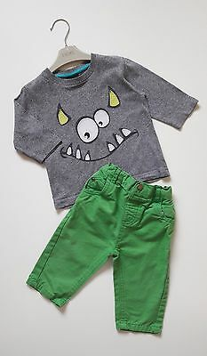 Baby Boys NEXT Monster Top TU Green Trousers Outfit 6-9 Months