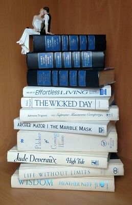 11 White Black Books Wedding Stack Display IN LOVE AND WAR
