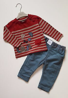 Baby Boys M&S Sage Jeans TU Red Brown Stripy Dog Top Outfit 6-9 Months BNWOT