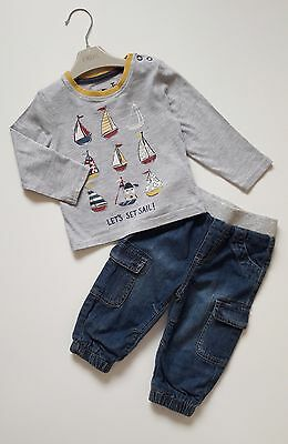 Baby Boys GEORGE Jeans TU Grey Let's Sail Boats Top Outfit 6-9 Months