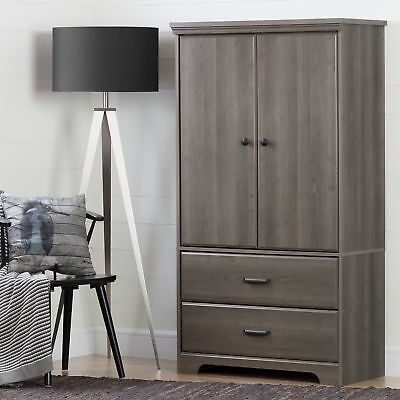 South Shore Furniture Versa 2-Door Armoire with Drawers, Gray Maple