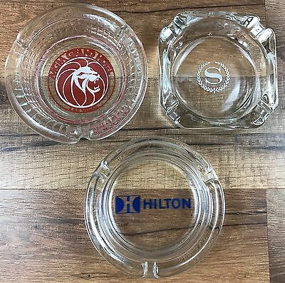 Vintage Hilton Sheraton MGM Grand Hotel Casino Las Vegas Glass Ashtray Lot of 3
