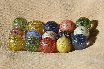 15x ~ SPECKLED ~ GLASS MARBLES ~ ( PLAY - AQUARIUM - FLOWER VASE )