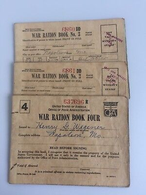 Vintage Lot of 4 WWII War Ration Books Ration Stamps