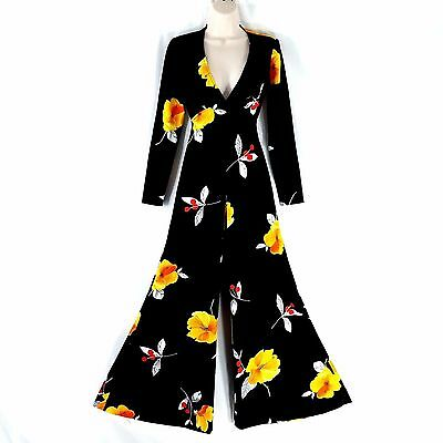 Frederick's Of Hollywood Floral Jumpsuit Size 7/8 Flare Bell Bottom Cut Out VTG