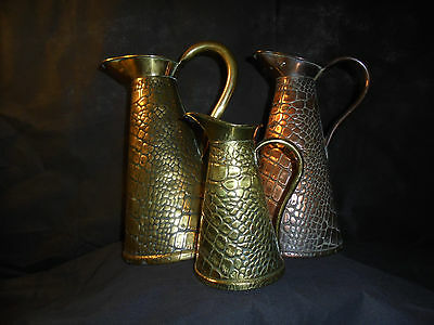 Antique/JS&S/Trident/Neptune Copper & brass lizard pattern jugs/pitchers