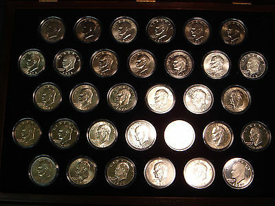 Complete 32 Coin Eisenhower Dollar Set in Capsules & Wood Case Proofs & Silver
