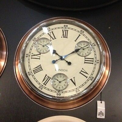 Large Multi Dial Time Zone Clock - Vintage Copper with White Face 50 cm Diameter