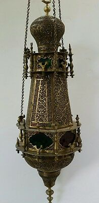 Antique Moroccan Pierced Brass Hanging Chandelier Lamp Lantern Light Rare Old