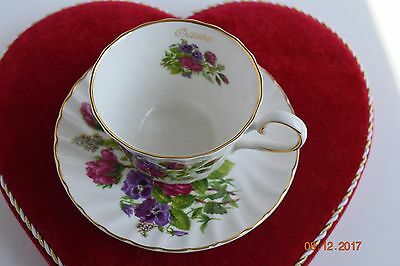 Crown Staffordshire Teacup and Saucer with Red Roses English Bone China
