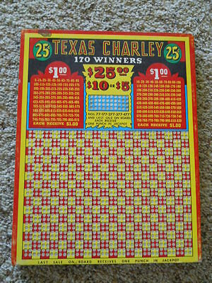 Antique Texas Charley Gambling 25 cent Punch Board Tavern Bar Game casino decor