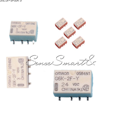 5PCS 8PIN DC 3V 5V 12V 24V SMD G6K-2F-Y-3VDC Signal Relay for Omron Relay