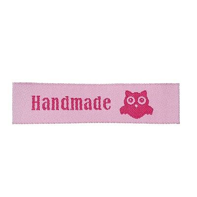 50 Label Etiketten Applikationen - Handmade Hand Made Eule - Rosa - NEU