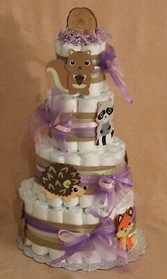 Tier Diaper Cake Girl Woodland Forest Friends Clever Fox Baby Shower Centerpiece