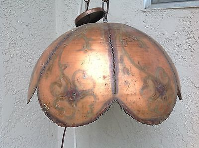 Antique Hand Cut French Country COPPER Floral Unique & Original Chandelier