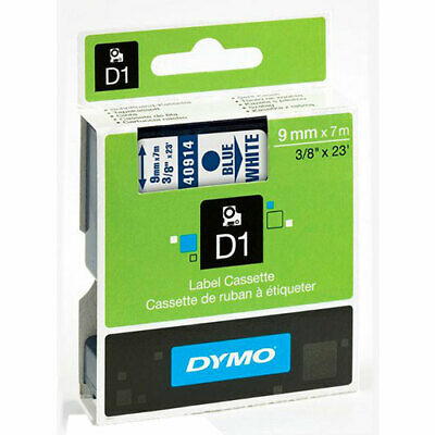 "Dymo 40914 D1 High-Performance Label Tape, 3/8"" x 23 ft, Blue on White"