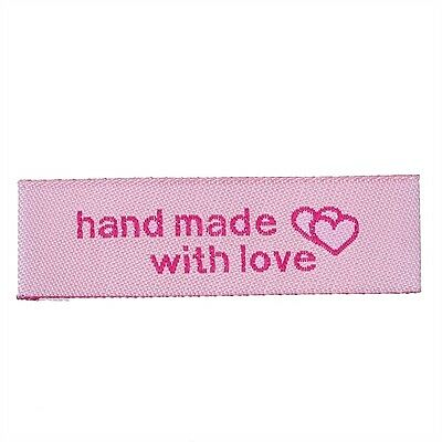 50 Label Etiketten Applikationen - Handmade - hand made with love - Rosa - NEU