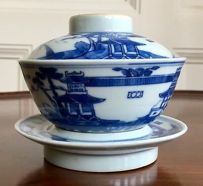 A Chinese Porcelain Bowl With Cover And Stand, Character Marks, Qing. 9.5cm High