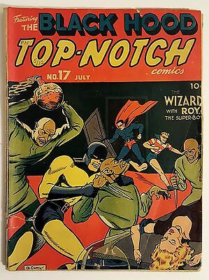 TOP-NOTCH COMICS #17 (1941) Black Hood The Wizard w/ Roy the Super-Boy Low Grade