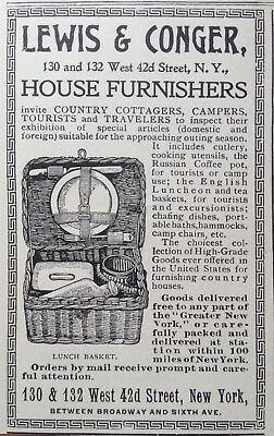 1899 AD (1800-19)~LEWIS & CONGER HOUSE FURNISHERS, 42nd. ST. NY. TRAVEL BASKET