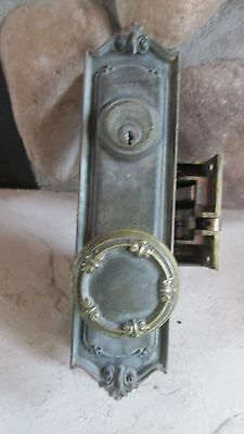 Antique Vintage Solid Brass Door Knobs Hardwear Lockset AND Face Plates