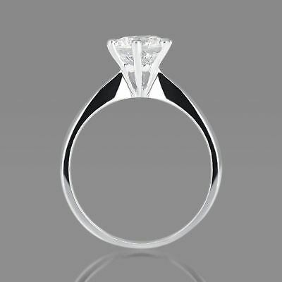 3/4 CT Solitaire Diamond Engagement Ring Enhanced Round Cut D/SI 14K White Gold