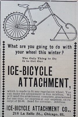 1899 Ad (1800-19)~Ice-Bicycle Attachment Co. Chicago.