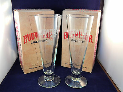 Etched Budweiser Pilsner Glasses Set of 2 W/ Boxes From 2014 Ltd. Edition Crate