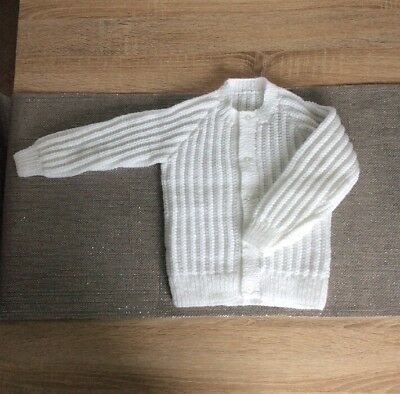 Hand Knitted Unisex Toddler Cardigan In White New Wool 18/24 Months